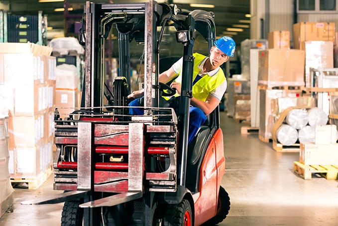 Forklift driver at work